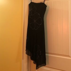 Strapless bcbg dress with sequin floral design
